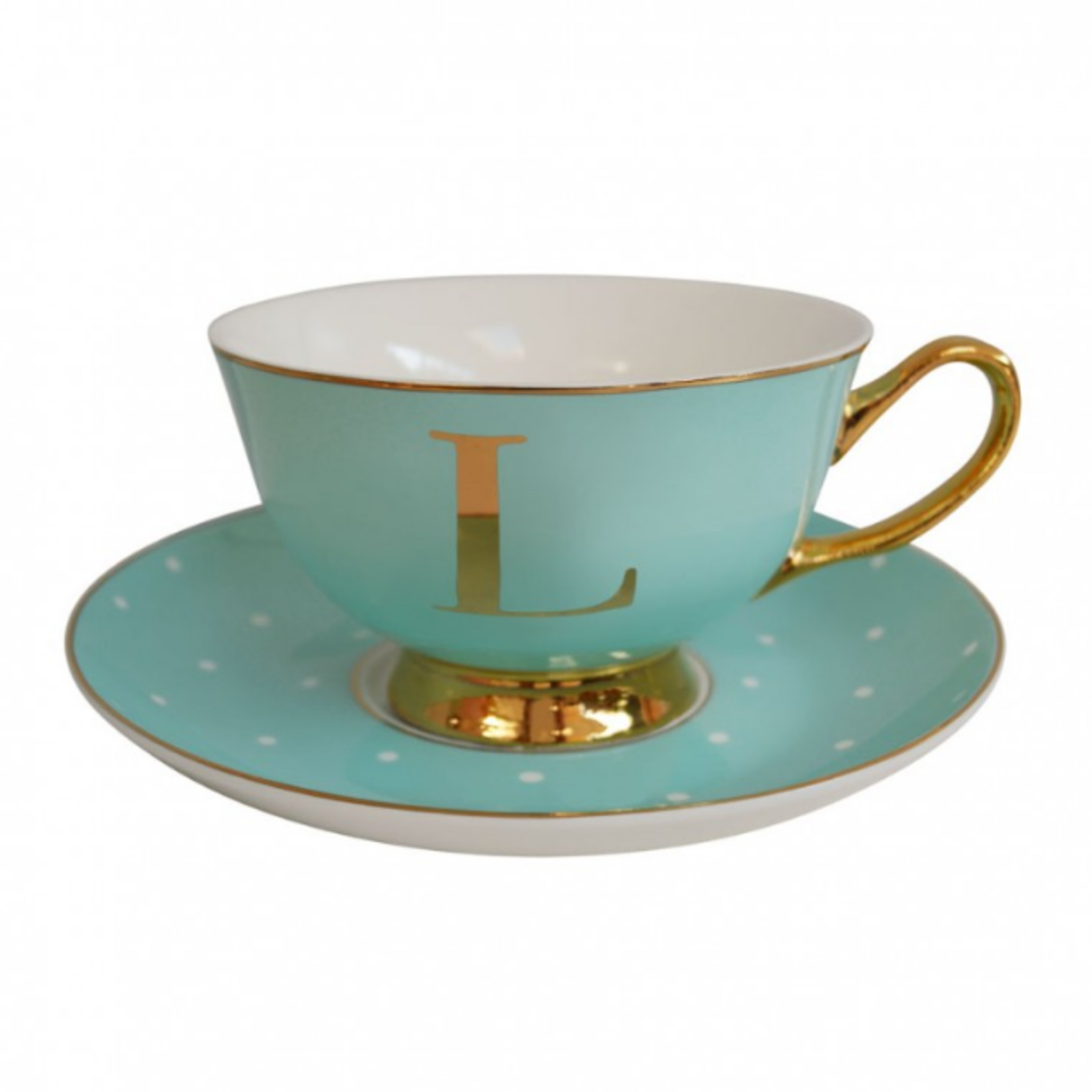 BoDuck Alphabet Spotty Teacup and Saucer Letter L Gold/Mint