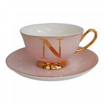BoDuck Alphabet Spotty Teacup and Saucer Letter N Gold/Tea Rose Pink
