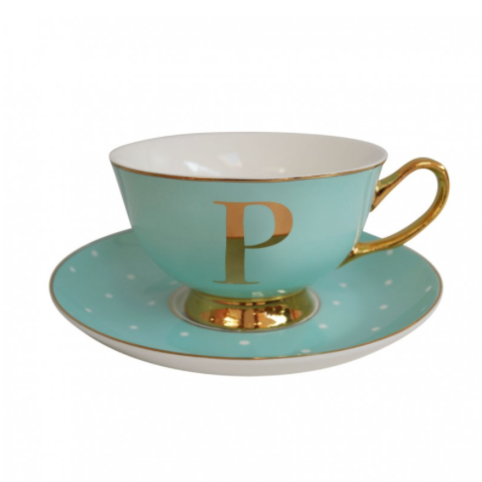 BoDuck Alphabet Spotty Teacup and Saucer Letter P Gold/Mint