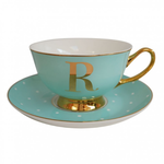 BoDuck Alphabet Spotty Teacup and Saucer Letter R Gold/Mint