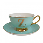 BoDuck Alphabet Spotty Teacup and Saucer Letter Z Gold/Mint