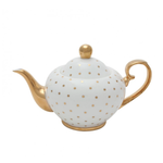 BoDuck Miss Golightly Teapot White with Gold Spots