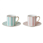 BoDuck Stripy Espresso Cups Pink / Mint Set of 2