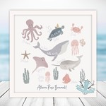 Homebird Bespoke Alex Anderson Square Personalised Sea World Baby Arrival Illustration