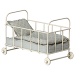 Maileg PRE ORDER Maileg Cot bed, Micro - Blue - Estimated arrival end October
