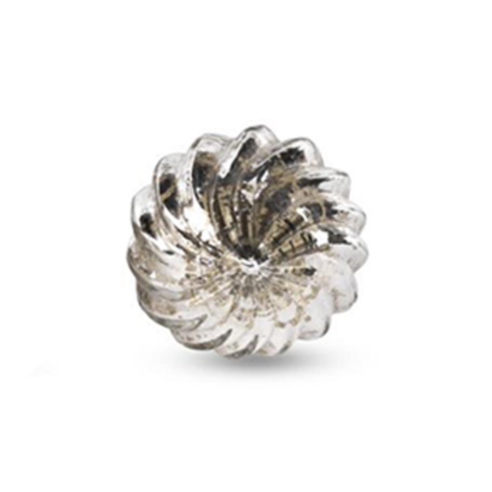 Nkuku Etna Glass Knob - Antique Silver - Spin Top 4cm