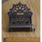IRON RANGE Toilet Roll Holder VICTORIAN with Lid Antique Iron