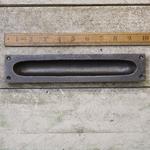 IRON RANGE Flush Handle Square End Cast Antique Iron 250mm x 50mm