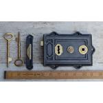 IRON RANGE Davenport Rim Lever Lock Iron and Brass with brass seal