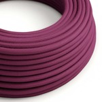 CCIT Per Metre - Round Electric Cable/Flex covered by Cotton solid color fabric Burgundy