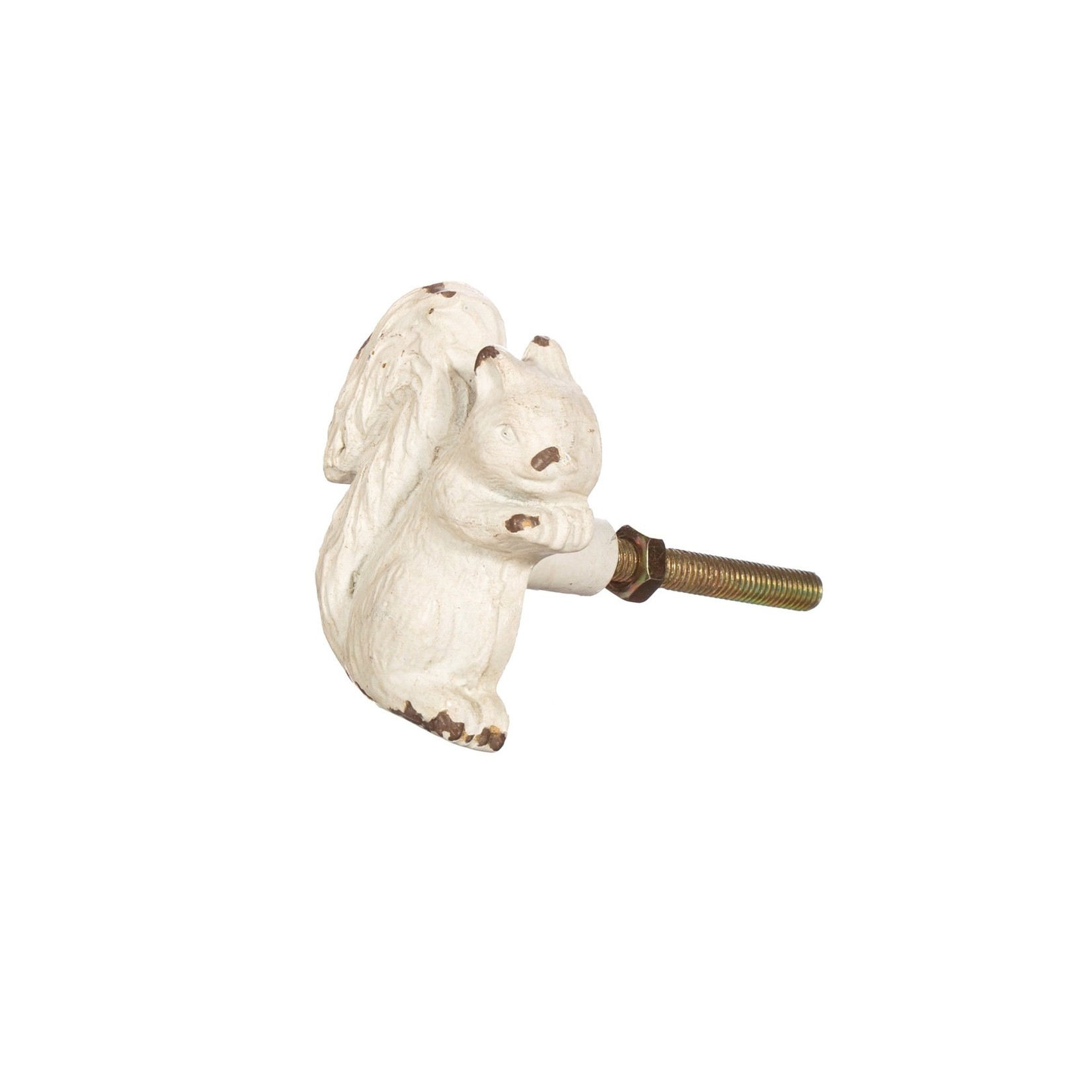 Sass and Belle Antique White Squirrel Drawer Knob