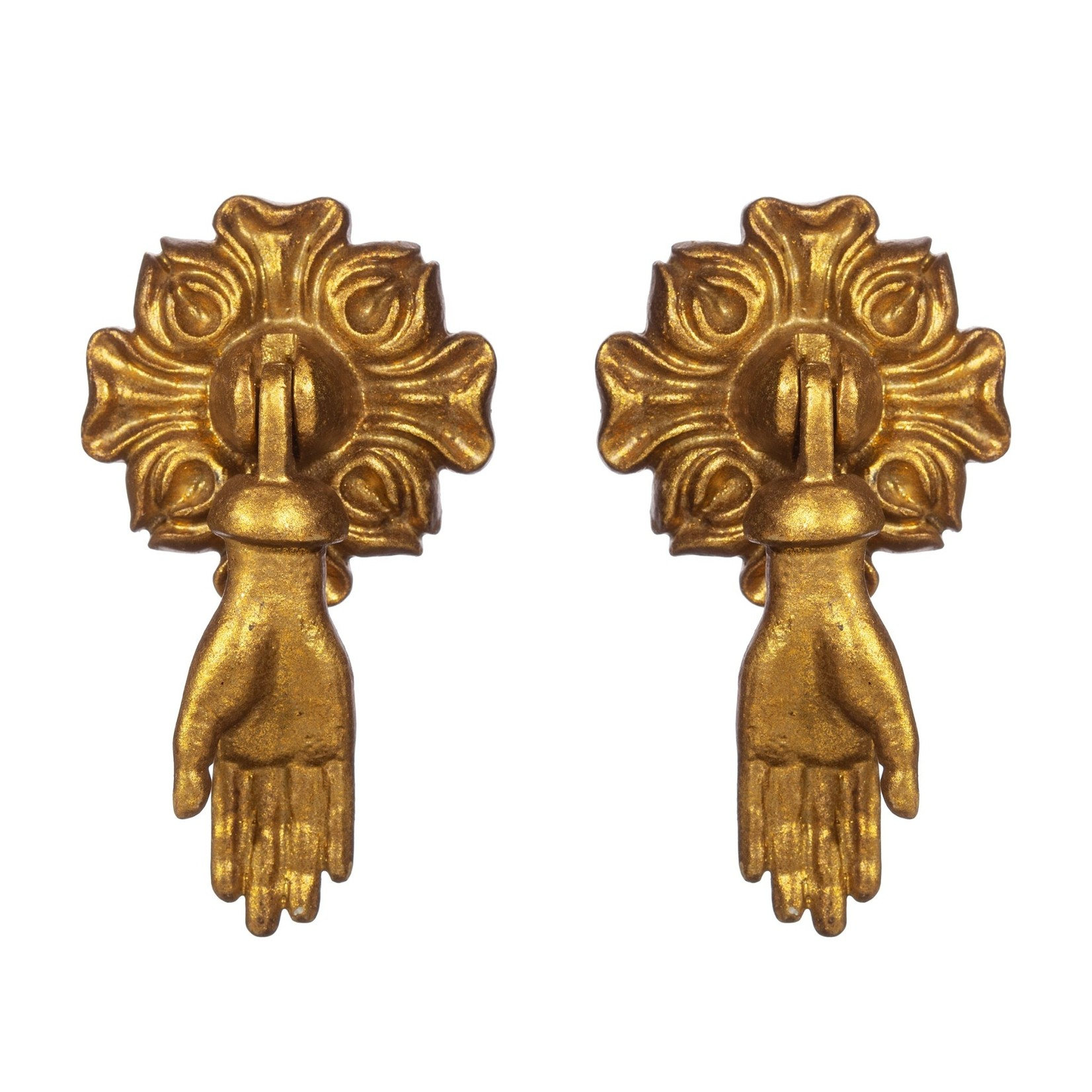 Sass and Belle Gold Hands Pendant Drawer Knobs - Set of 2