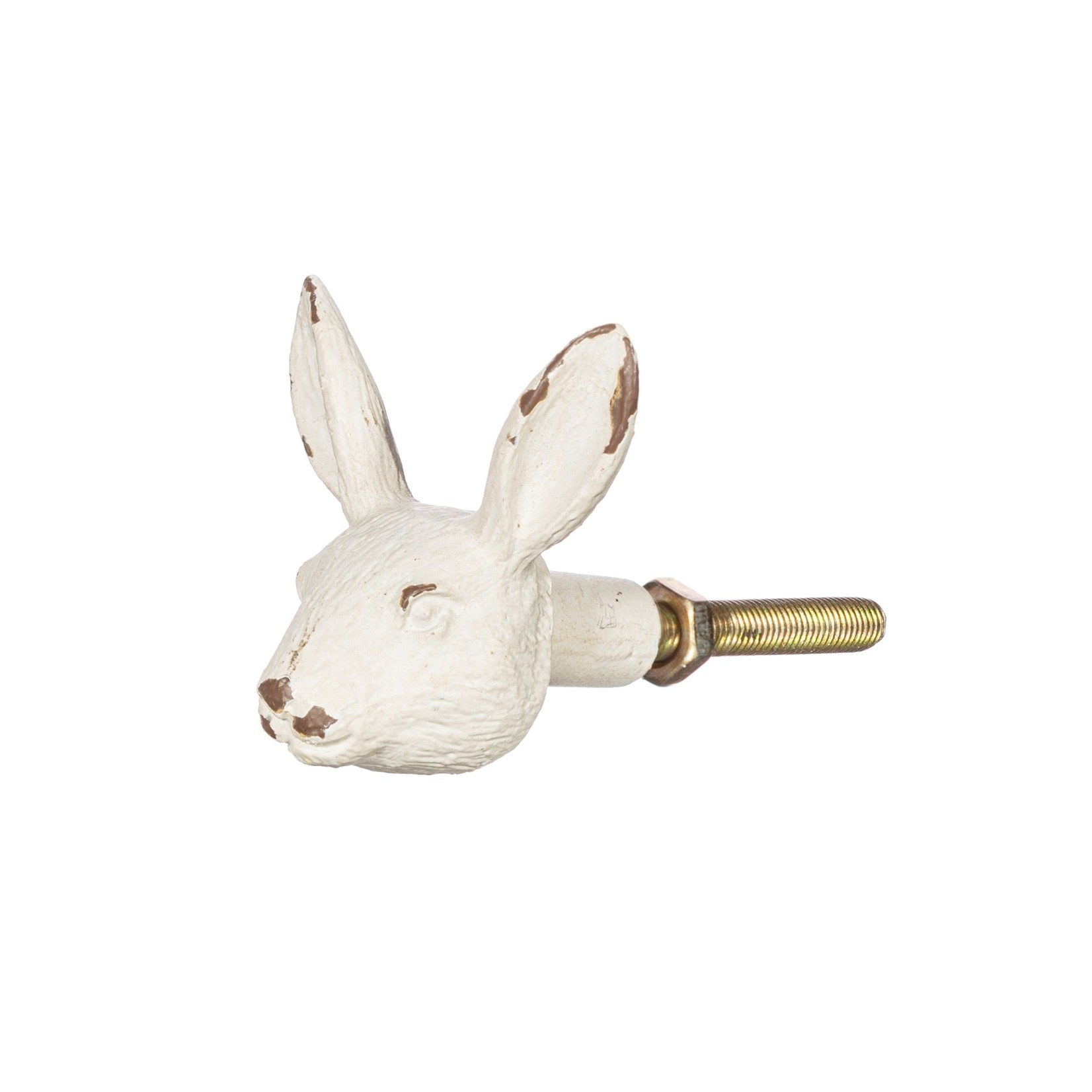 Sass and Belle Antique White Rabbit Head Drawer Knob