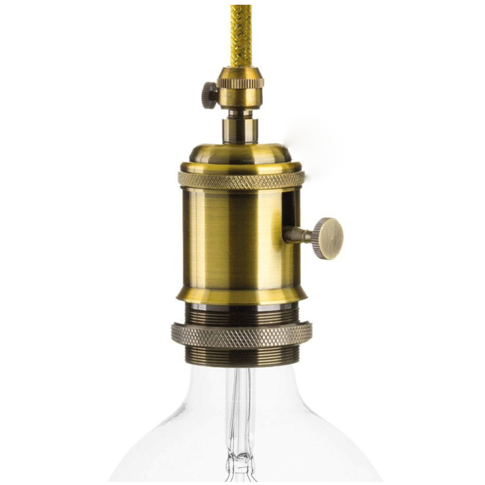CCIT Brass Lampholder with dial switch and cable Grip E27