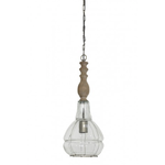 Light & Living Hanging lamp 20cm SACHA NATURAL WOOD WITH GLASS