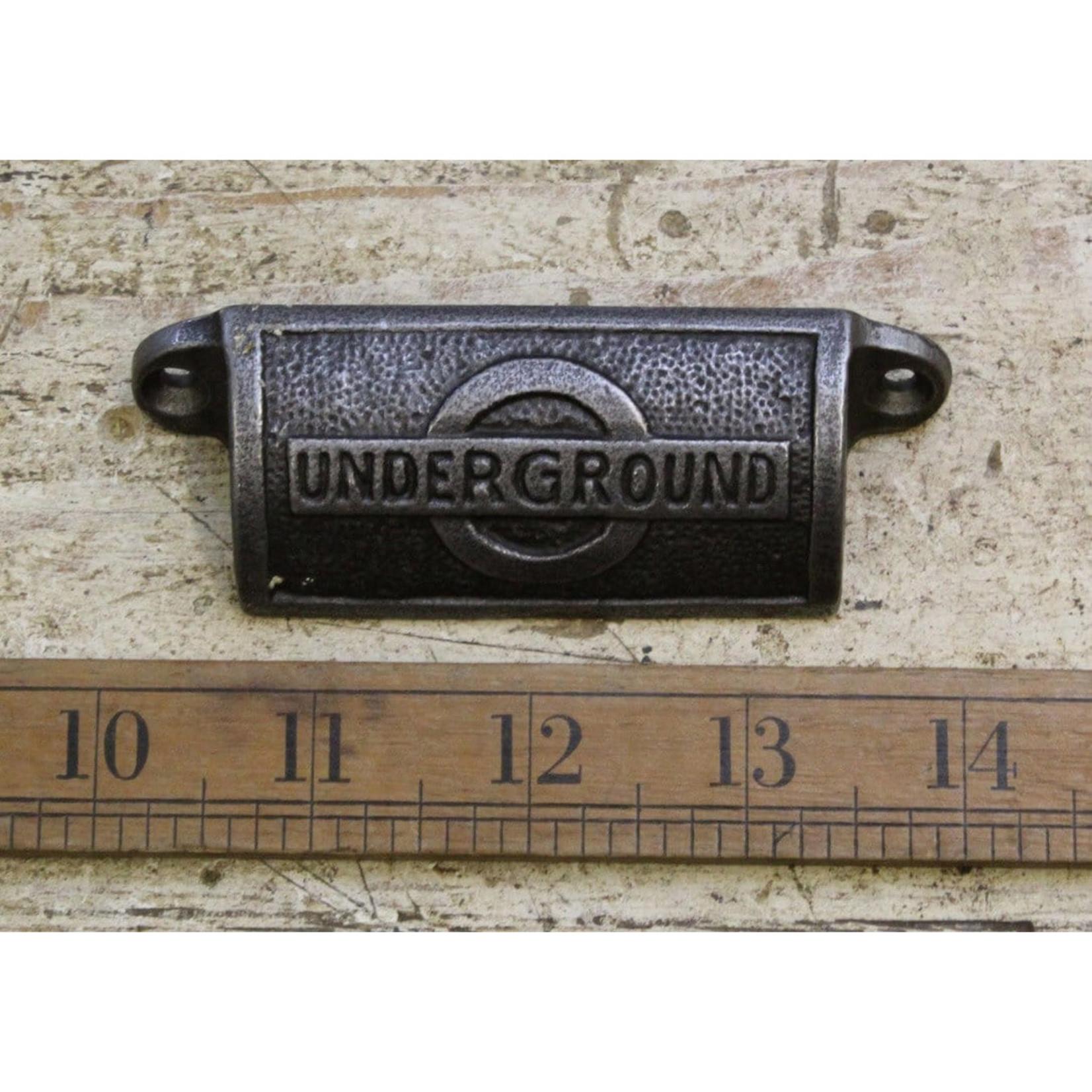 IRON RANGE Cup Pull Handle LONDON UNDERGROUND Antique Iron 98mm