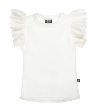 By Kels Ruffle Top | Broderie Sleeve Off White