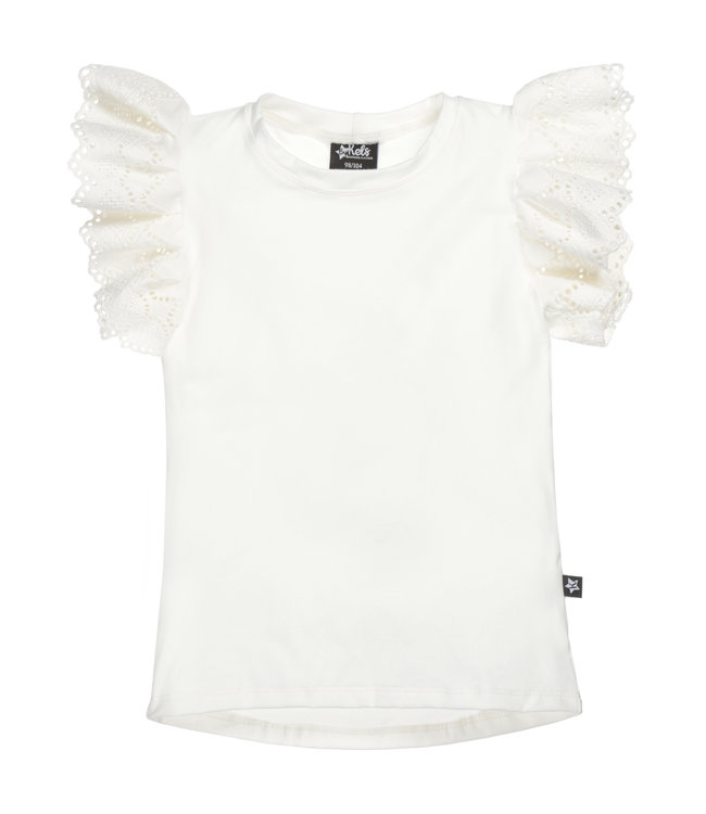 Ruffle Top | Broderie Sleeve Off White