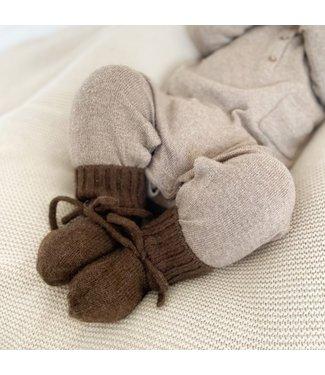Petit Noé Merino wol Booties | Dark Brown