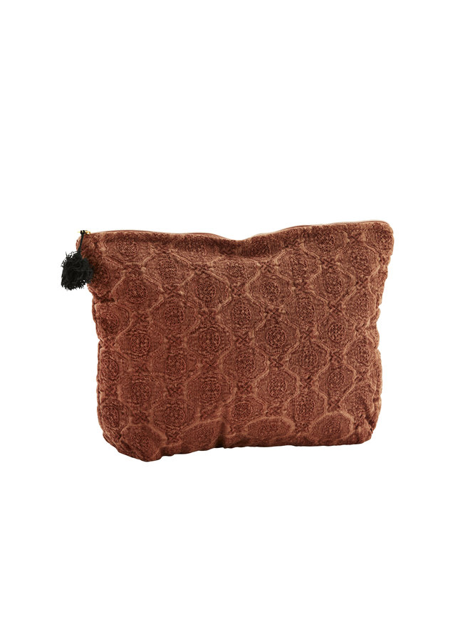 EMBROIDERED LINEN TOILET BAG/ RUST