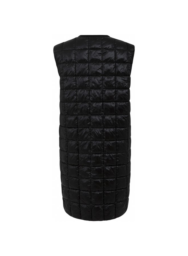 HEART LONG QUILTED VEST Black