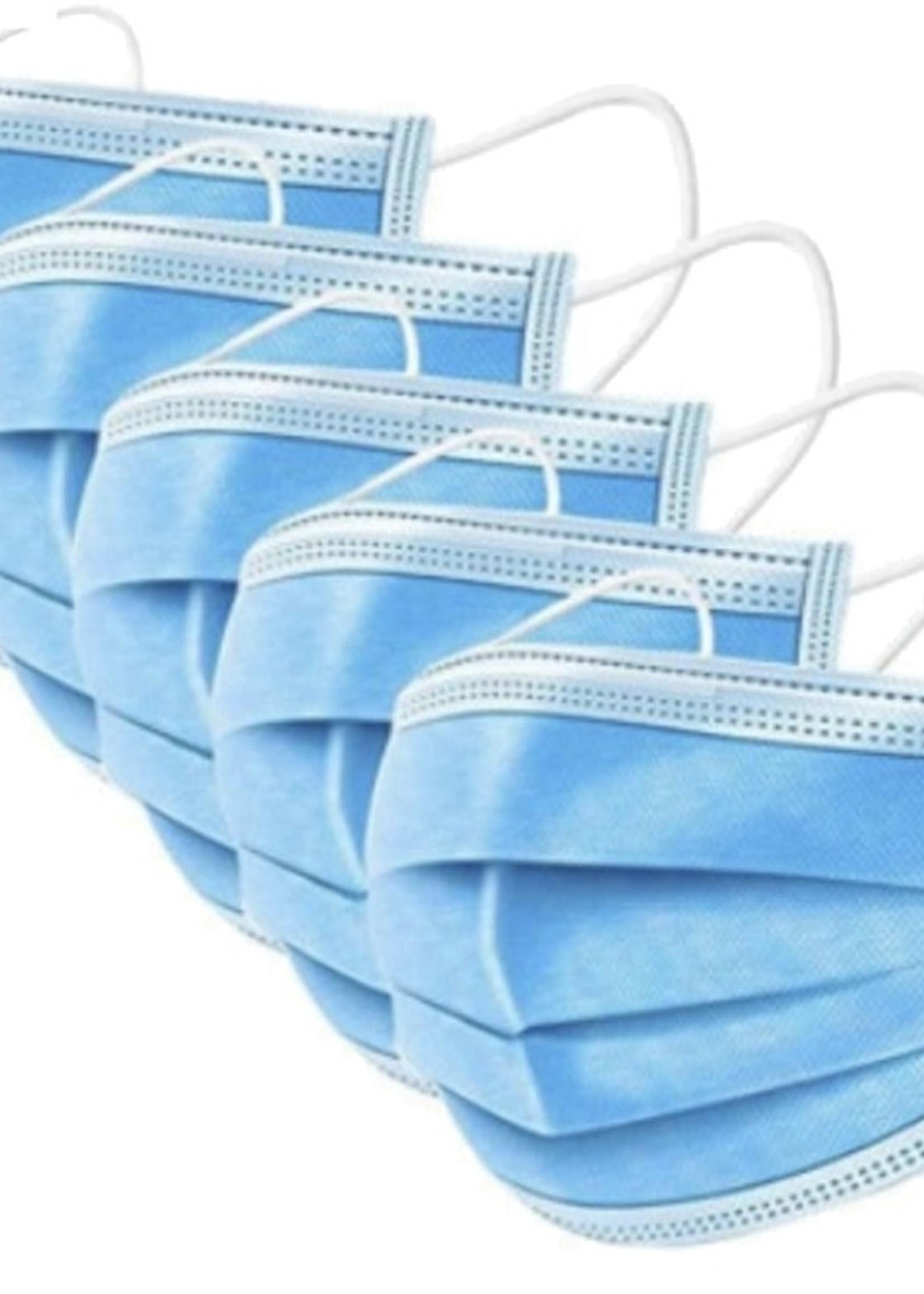 Mondkapjes 3 Laags (50 stuks) | Elastische Bevestiging | Wegwerp | 3PLY | Stofmasker