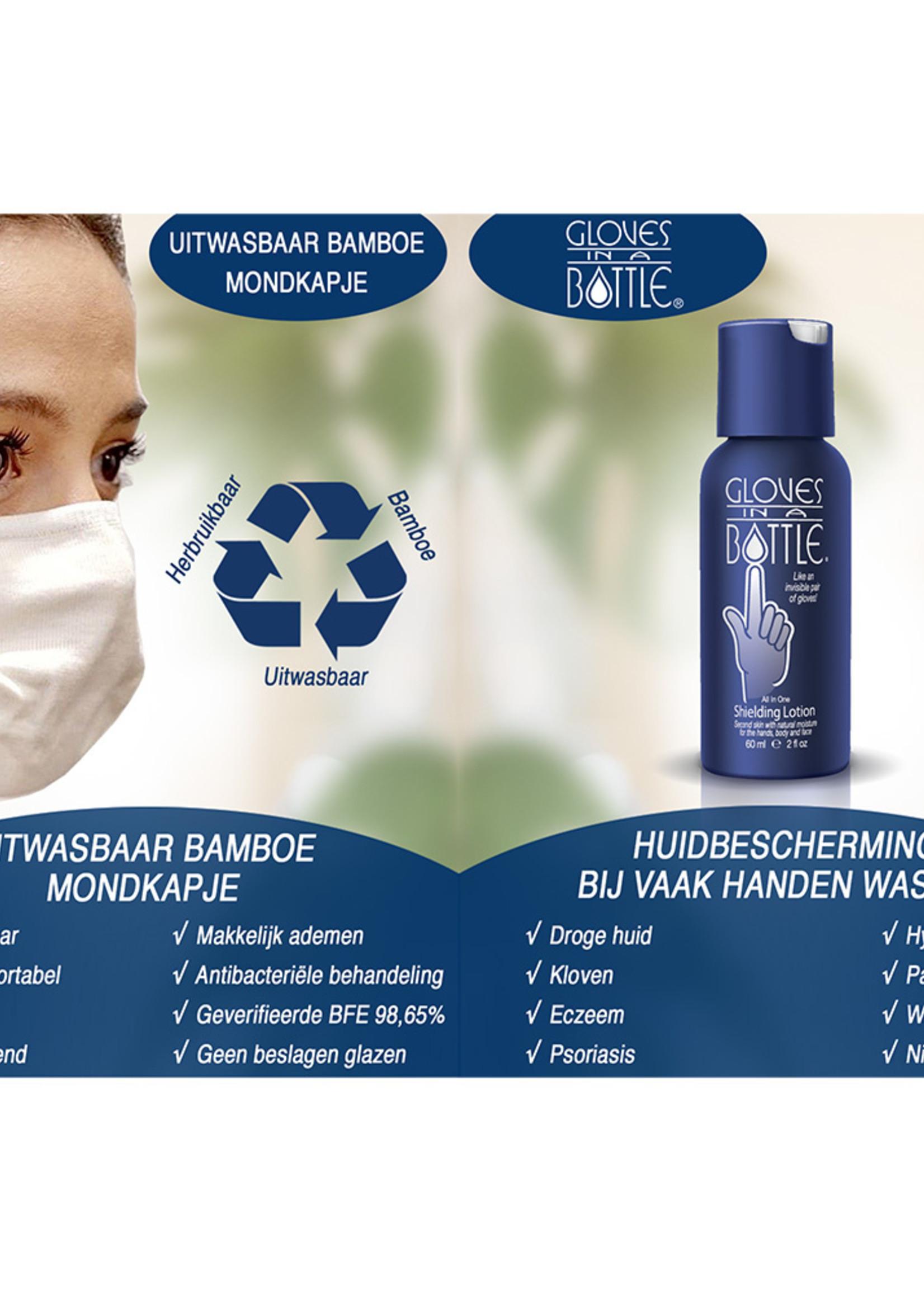 Gloves In A Bottle Combiverpakking GIAB + Bamboe Mondkapje