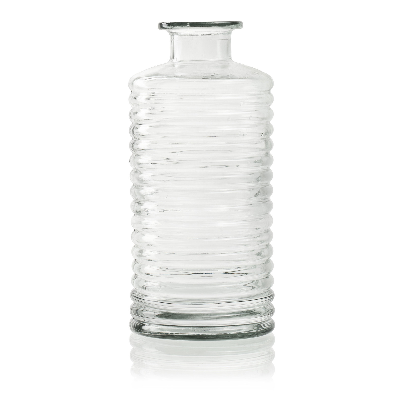 Jodeco Glass Flesvaas met ribbel 'Fokke' H31 D14,5 cm Transparant