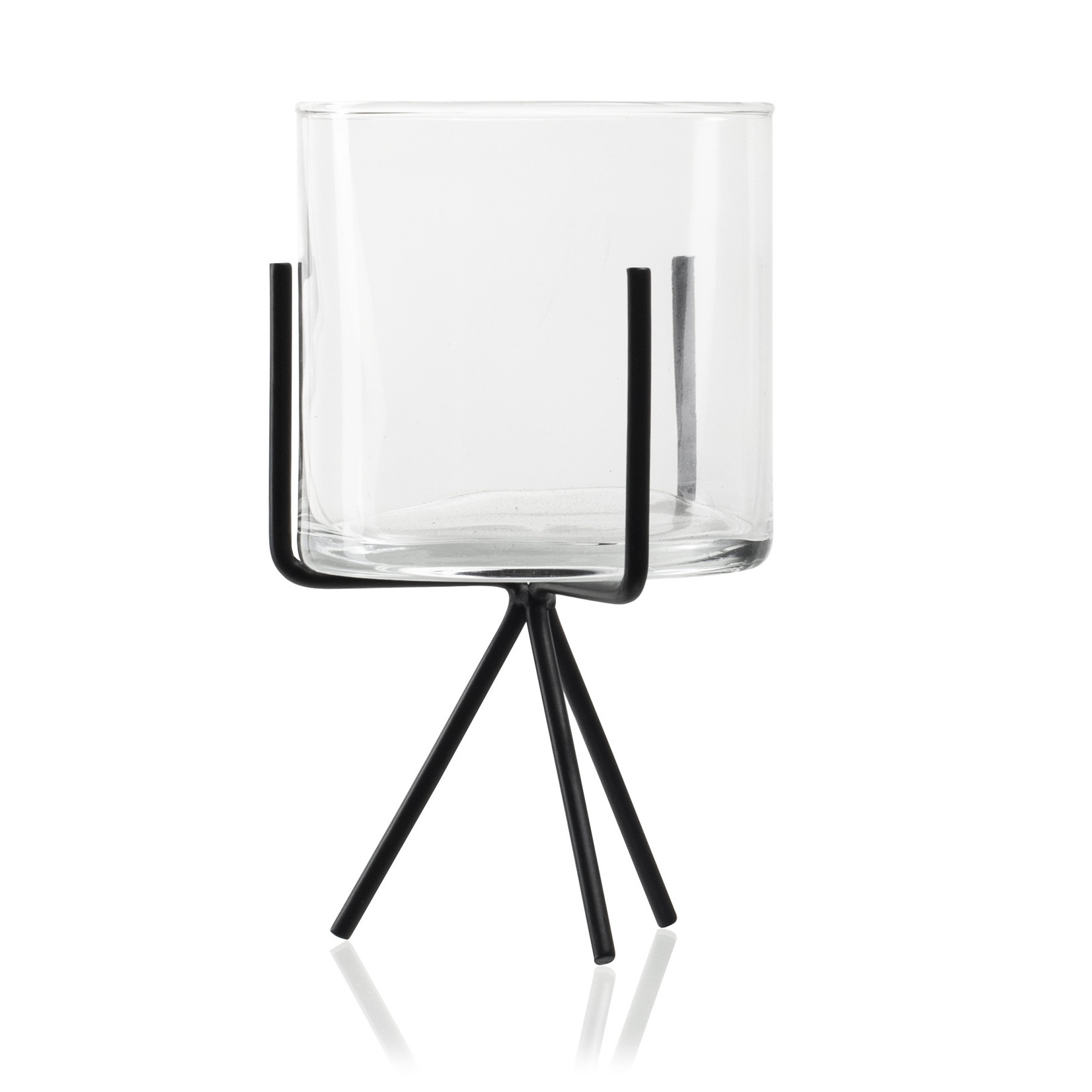 Jodeco Glass Metalen standaard met glas 'Melle' H22 D12 cm Transparant