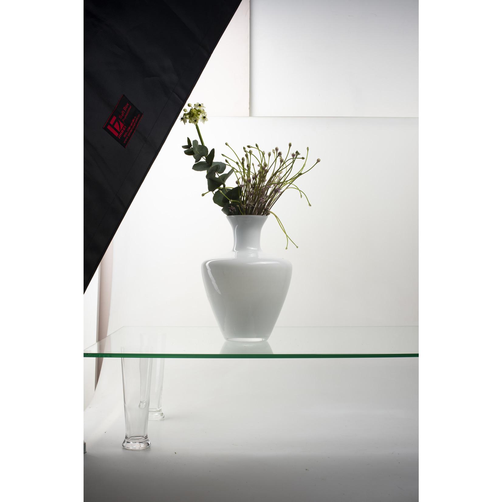 Jodeco Glass ZZING! design vaas 'Zanza' H28 D19 cm Wit