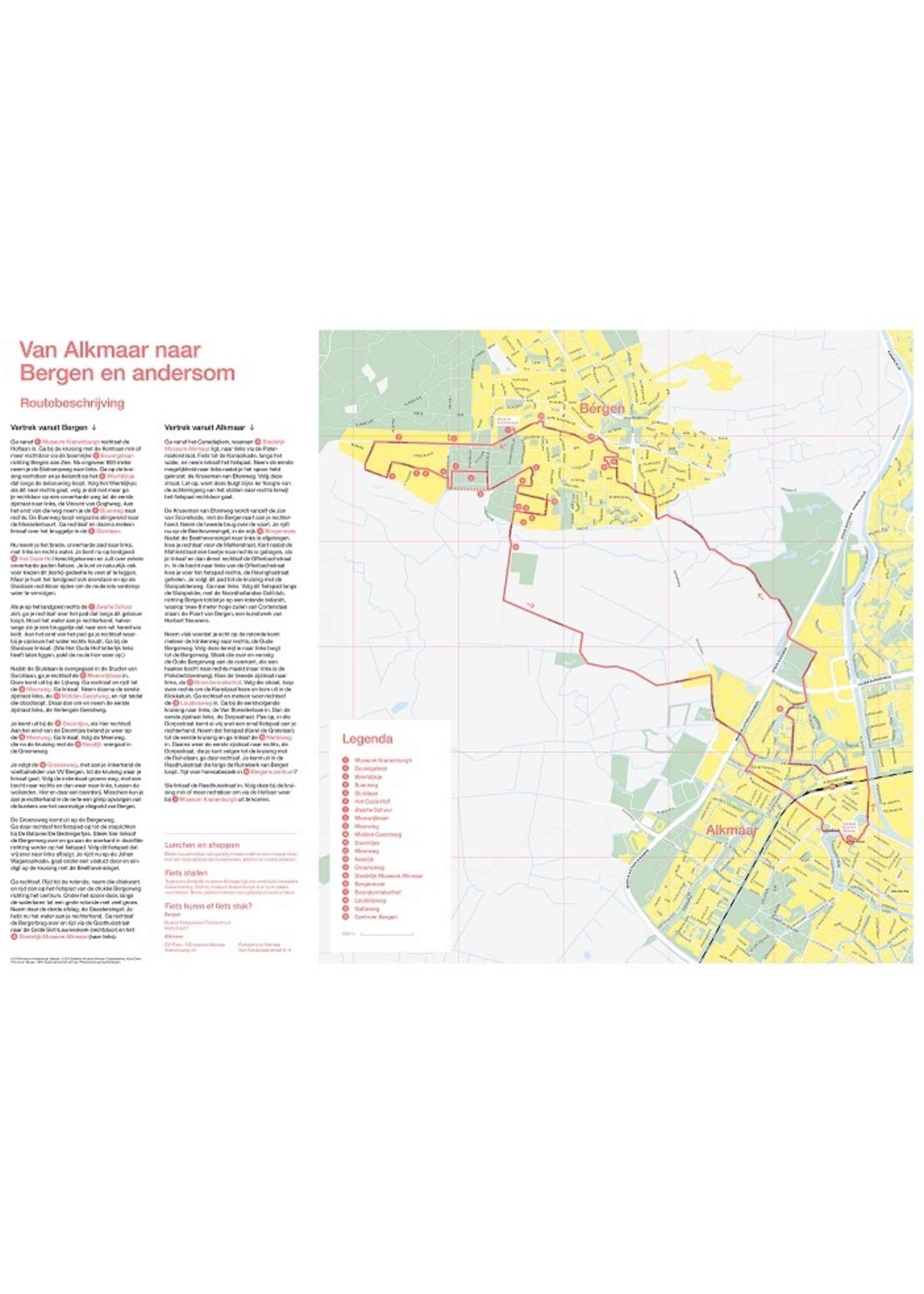 Cycle map from Alkmaar to Bergen