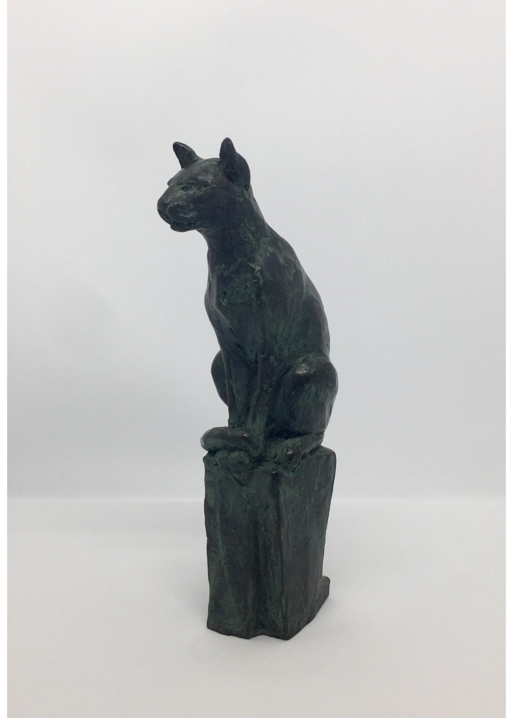 'Kätzchen auf Sockel' - Jeronimus van der Leeden (Bronze)