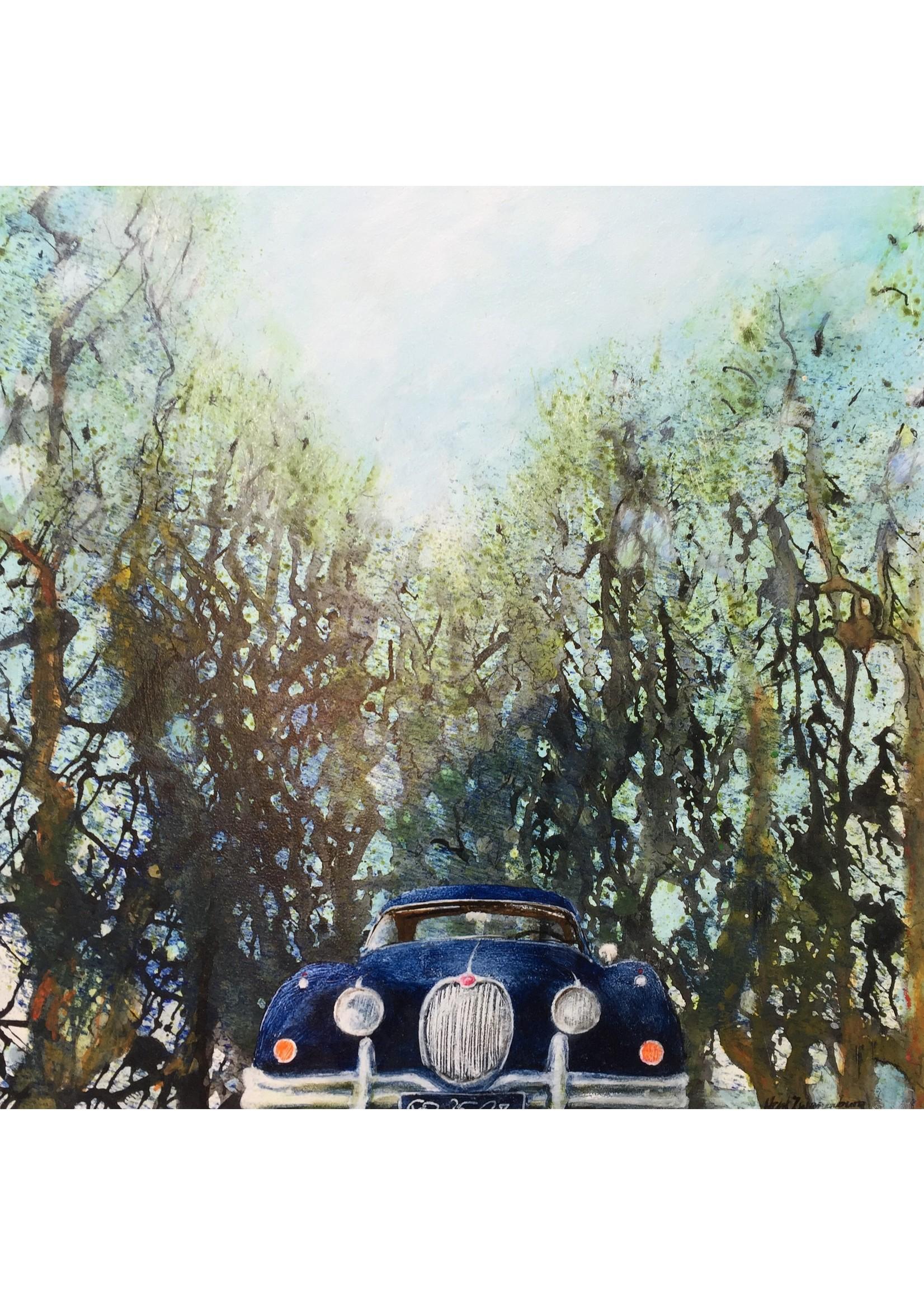 'Oprijlaan (Jaguar XK)' - Henk Zwanenburg (acryl op paneel)