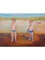 'Stoombootje' - Bea van Huystee (Olieverf op doek)