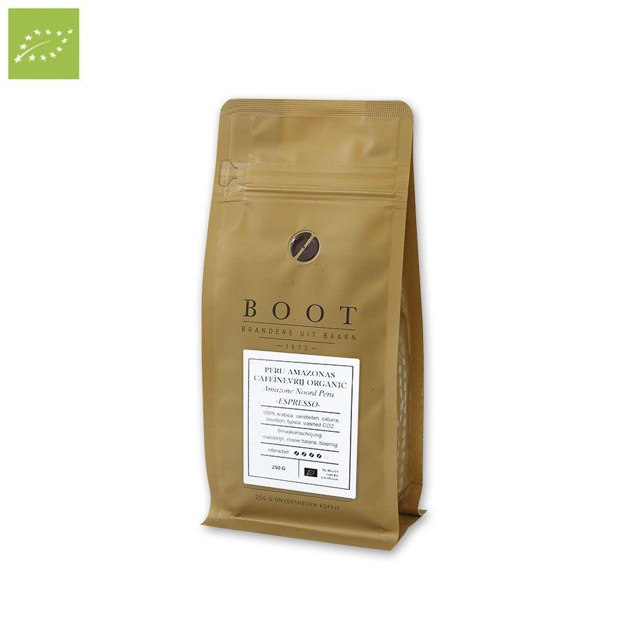 Boot koffie Peru Amazonas Decafé Organic Espresso -  250 Gram