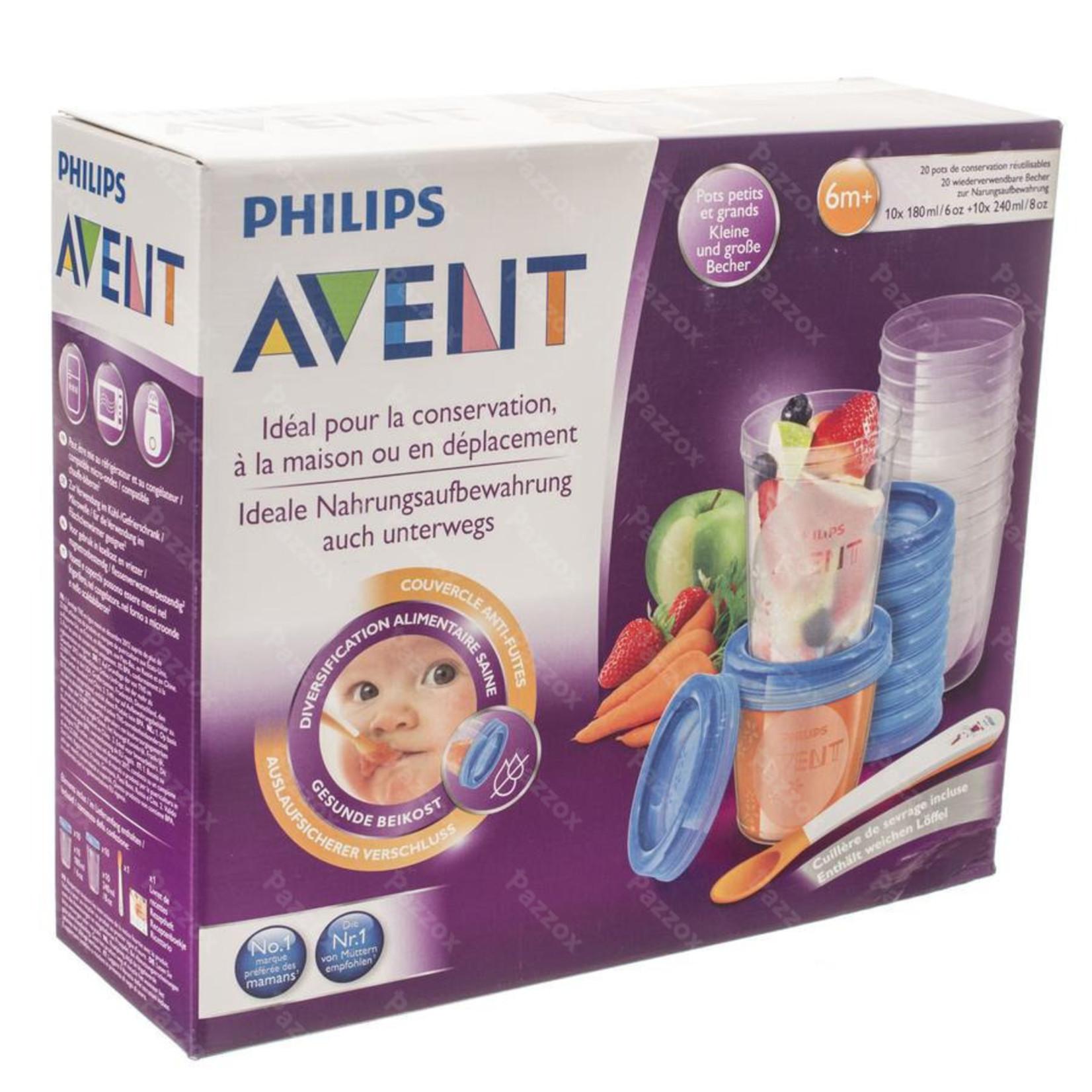 Avent Avent Via Natural Set van 20 bewaarpotjes 180ml en 240ml met lepel