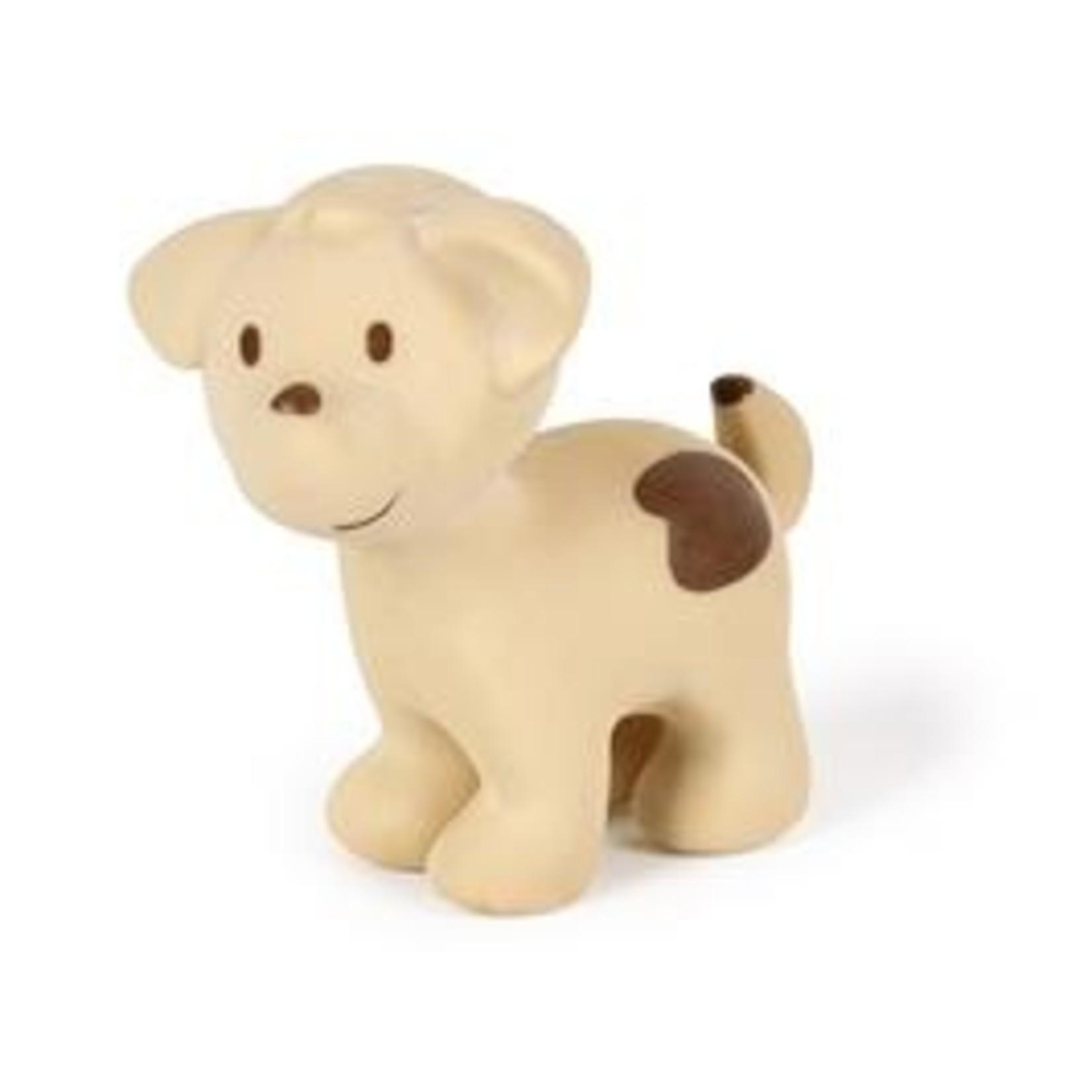 Tikiri Tikiri Badspeeltje met belletje in natuurlijk rubber Hond