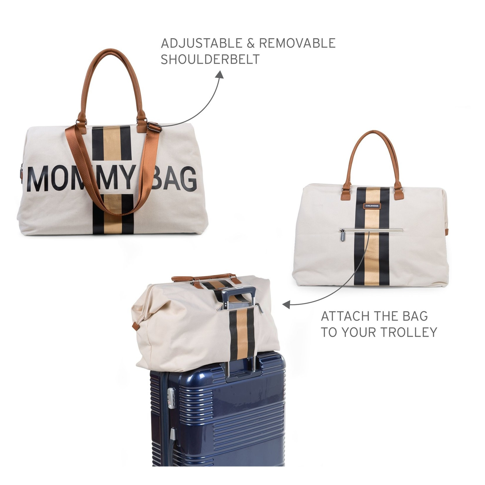 Childhome Childhome Mommy bag Canvas Offwhite Stripes Zwart/goud