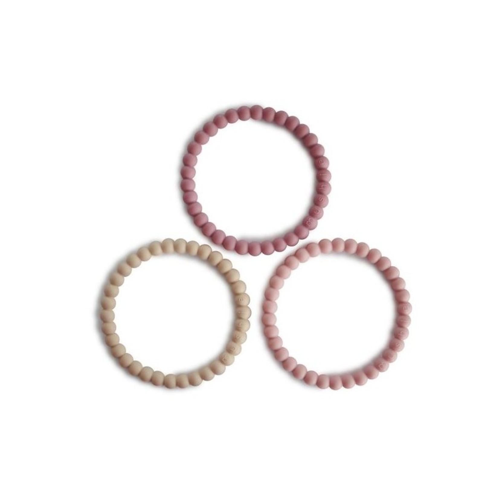Mushie Mushie Silicone Bracelet/Bijtringen 3-pack Linen/peony/pale pink
