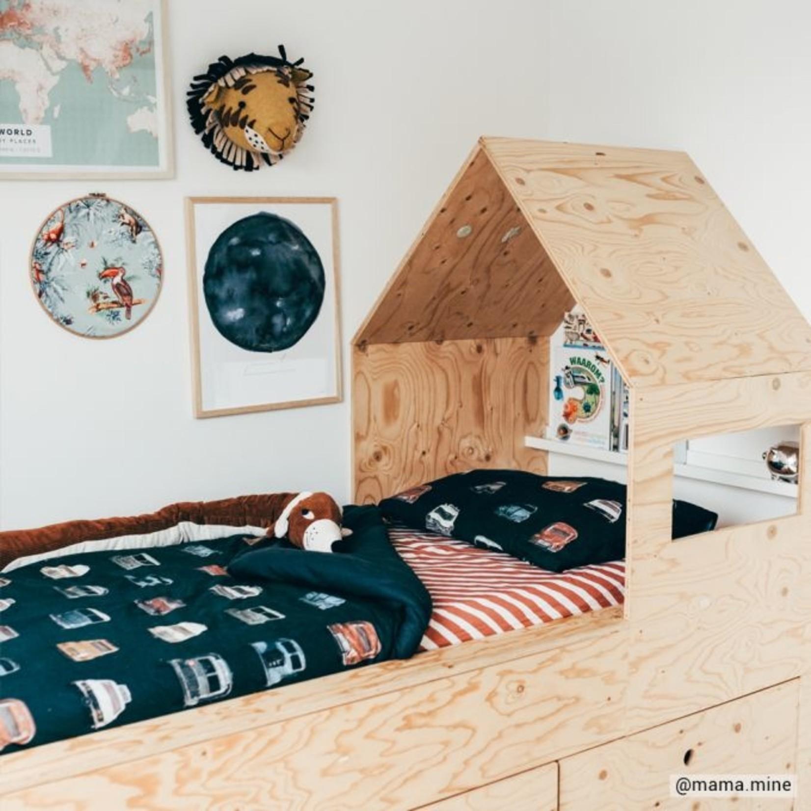 Studio Ditte Studio Ditte Hoeslaken 1-persoons Strepen Roestbruin
