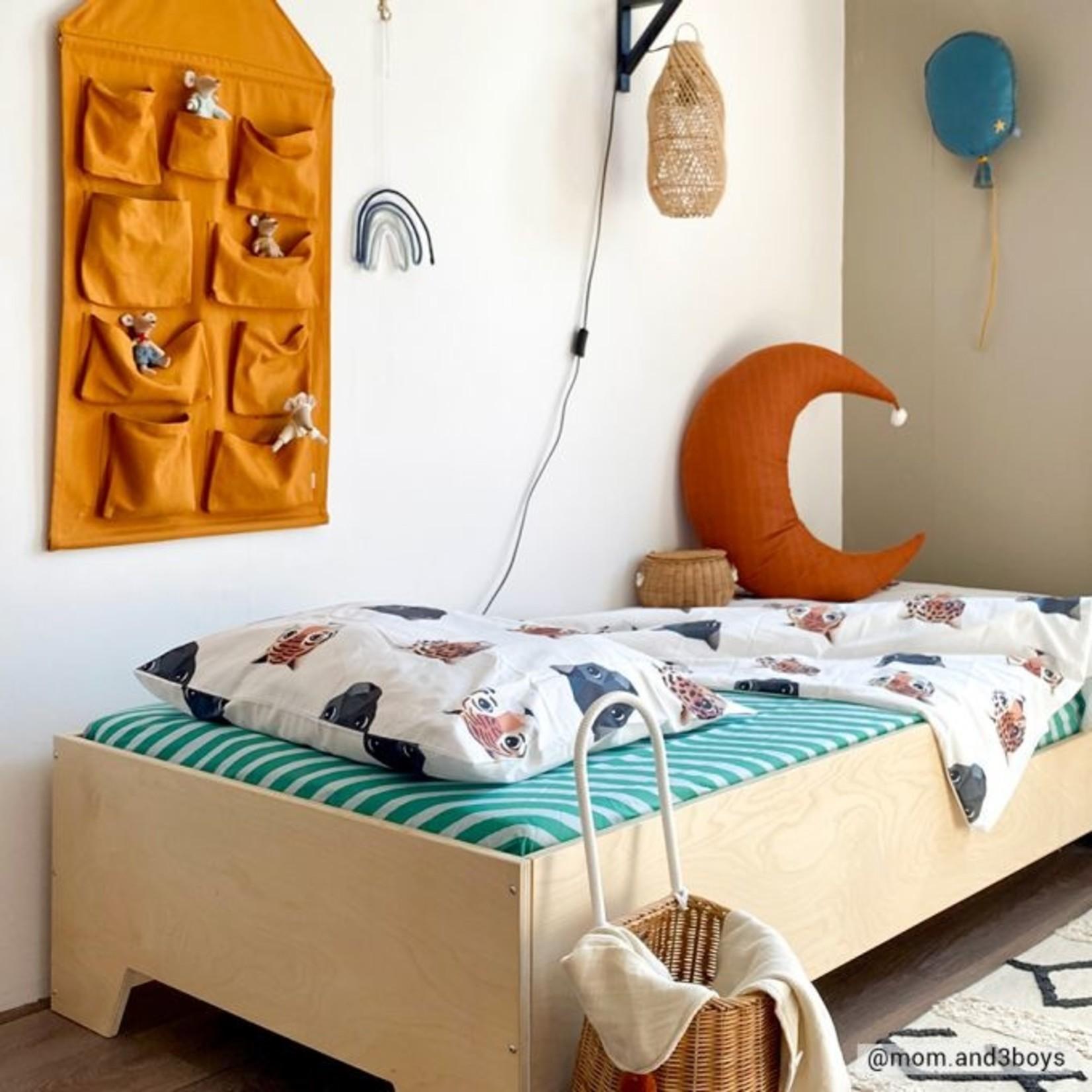 Studio Ditte Studio Ditte Hoeslaken 1-persoons Strepen groen en lichtblauw