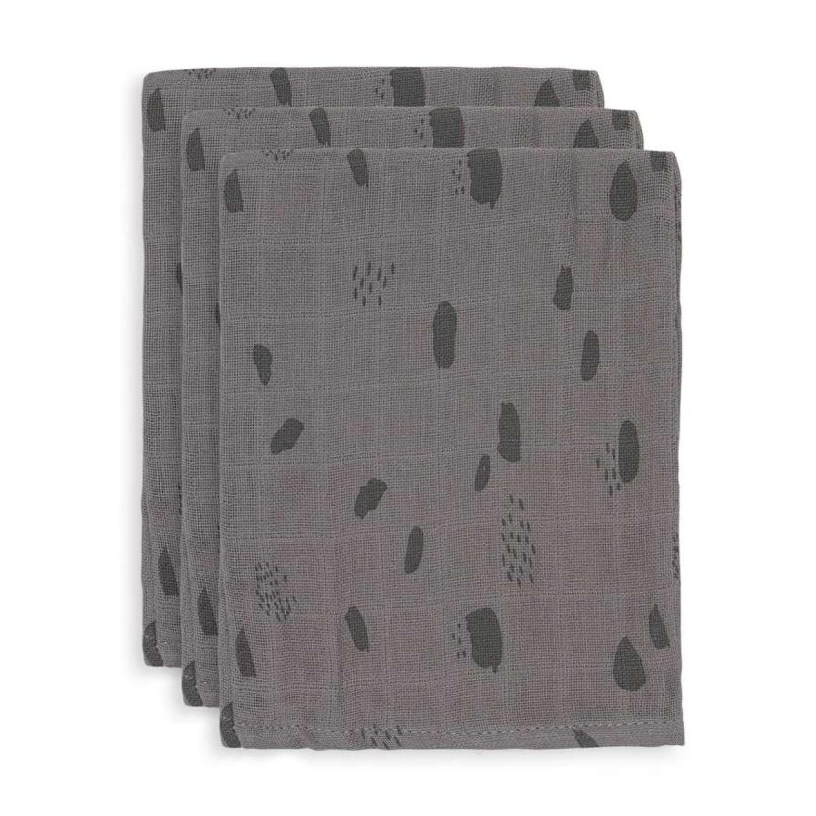 Jollein Jollen Set van 3 washandjes Storm grey Spot