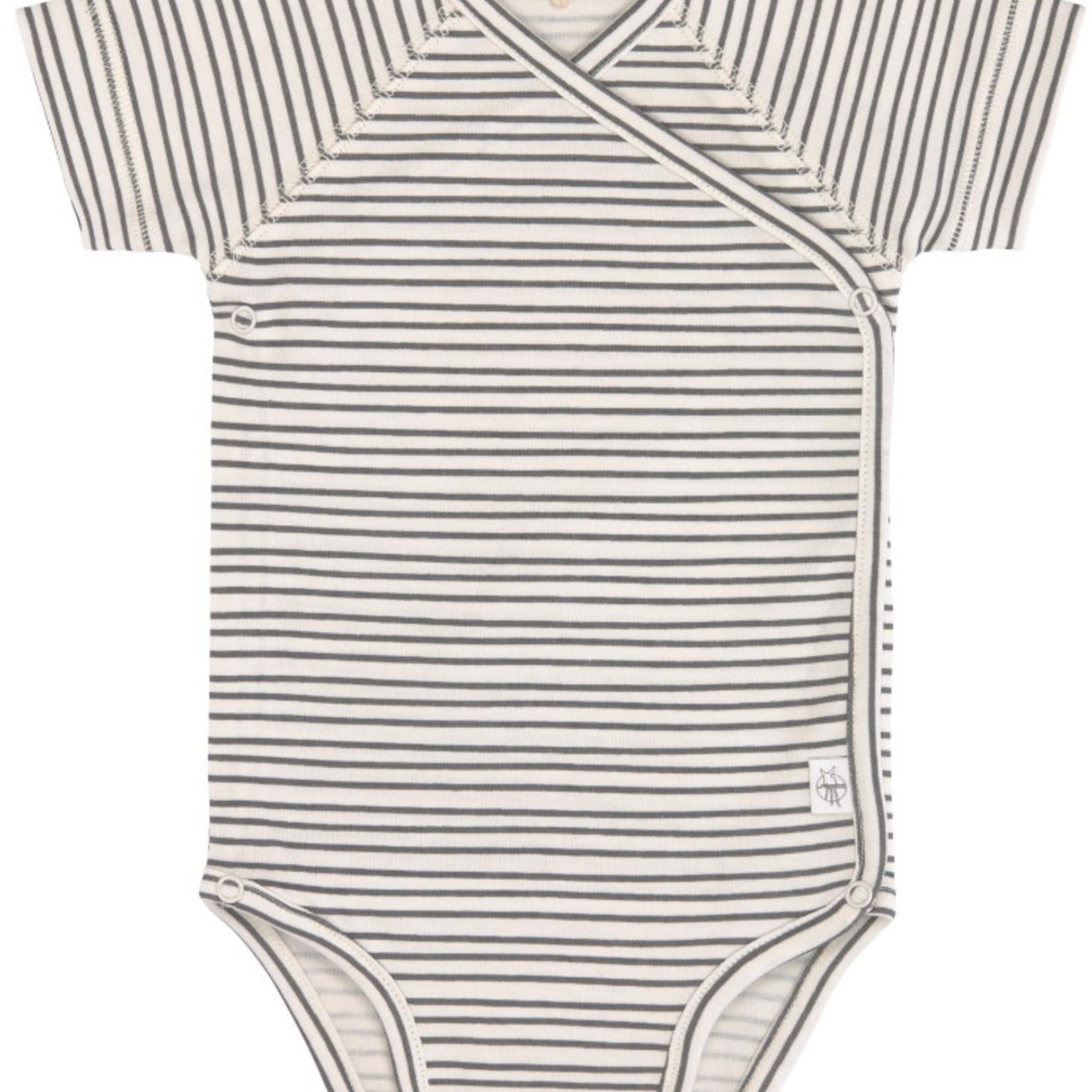 Lässig Lässig Overslagbody korte mouw Gots Striped grey/Antracite