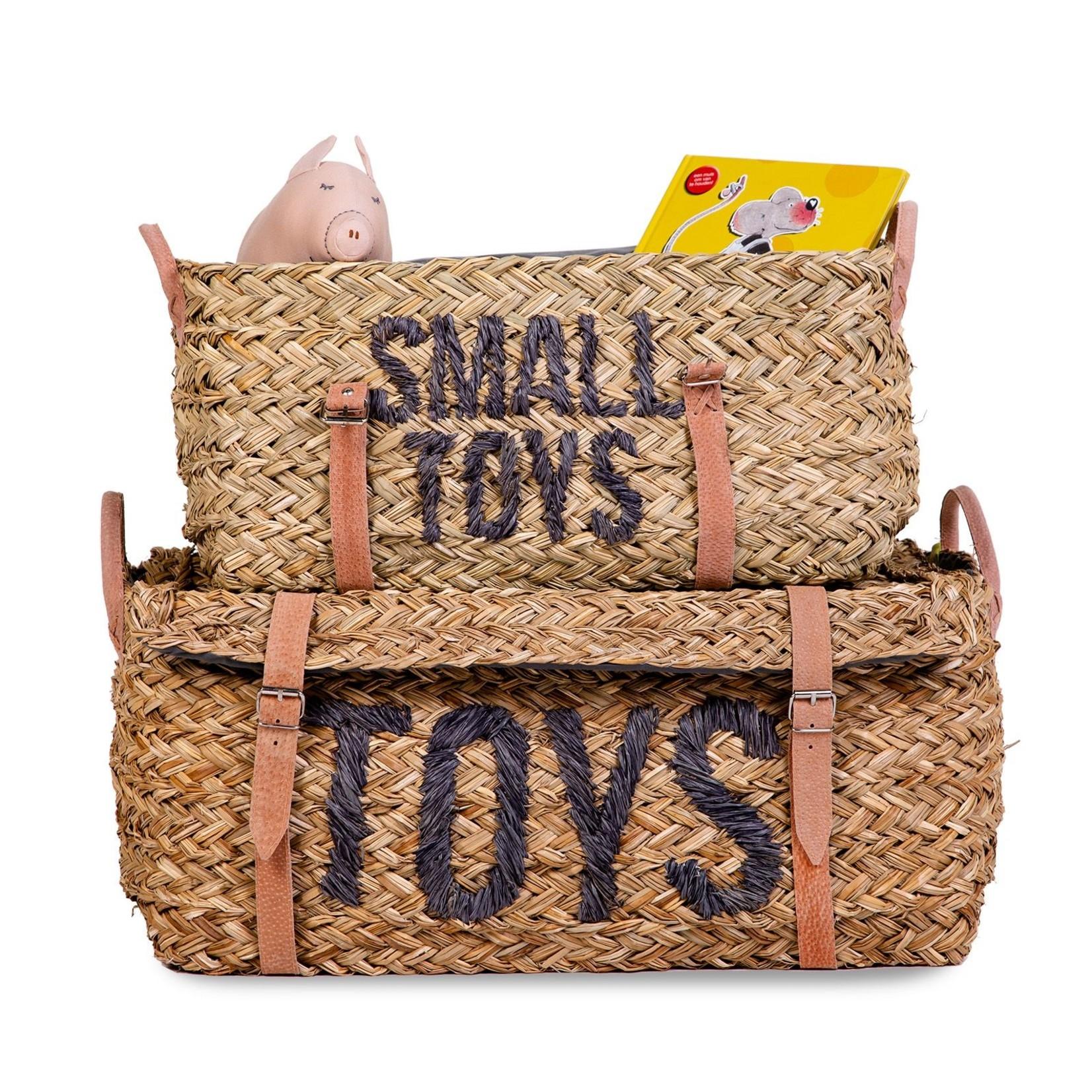 Childhome Childhome Set van 2 Rattan Manden met riemen 'Toys & Small Toys'