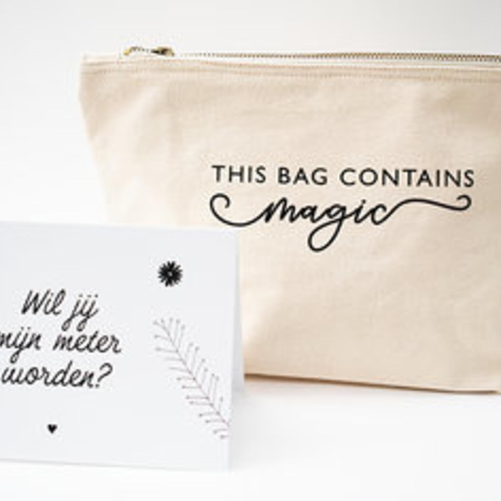 Minimou Minimou Make-up tasje 'There's magic inside' met kaartje 'Wil jij mijn meter worden?'