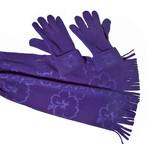 Cadriano Fleece sjaal met handschoenen (blauw)