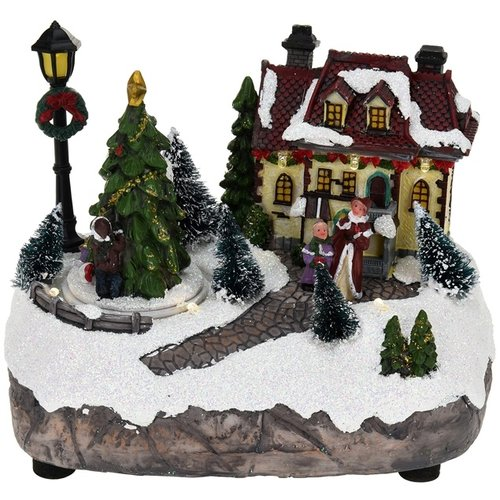 Verlicht kersthuisje
