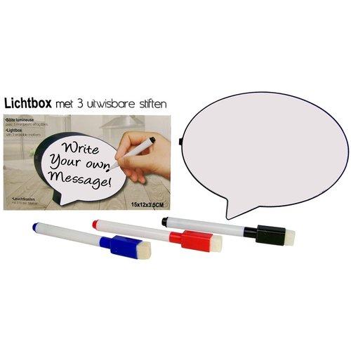 Lichtbox met 3 uitwisbare stiften