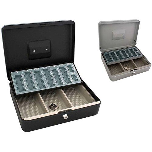 Metalen Geldkist 30x24x9cm met munten-sorteerplateau