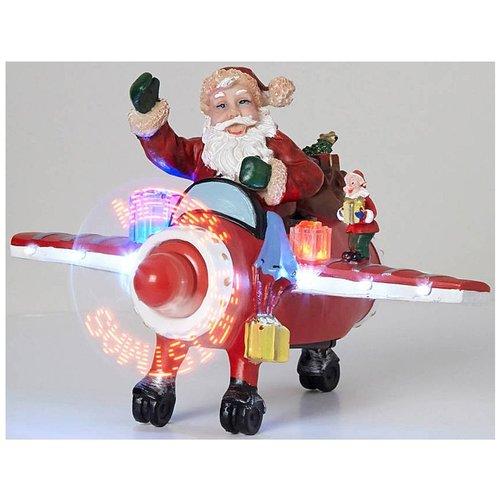 Konstsmide Kerstman in vliegtuig